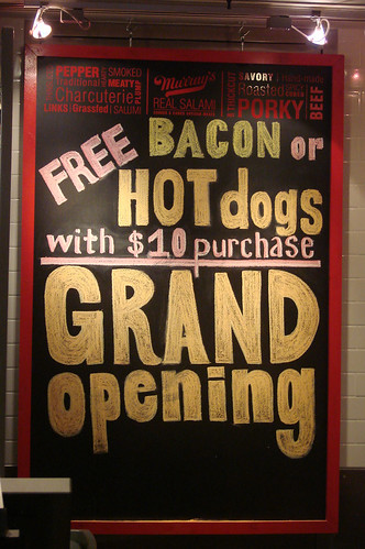 Yippee! Free bacon or hot dogs