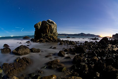 Mile Rock (ec808x) Tags: ocean sanfrancisco longexposure nightphotography seascape beach misty canon landscape rocks waves pacific shoreline wideangle bayarea milerockbeach 40d sigma10mmfisheye