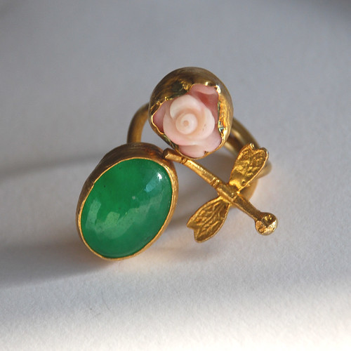 Dragonfly Ring with a Pink Carved Coral Rose and a Faceted Jade Stone