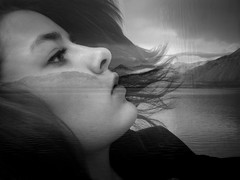 Eitt (Eln Elsabet) Tags: sea portrait bw mountains nature water face closeup self hair landscape one waves gimp calm bothshotstakenatthesametime intheendofmystreetatsunset beautysuperimposedonbeauty