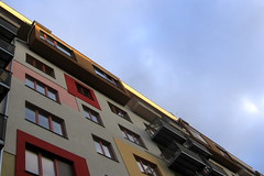 Condo (Vlastula) Tags: morning red color colour window yellow colorful apartment flat czech prague balcony praha flats condo shade housing czechrepublic block cz gutter colourful condominium eaves ceskarepublika sunblind esko eskrepublika flatbuilding