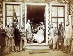 Mar Lodge, group in the doorway of the smoking room including the Prince and Princess of Wales