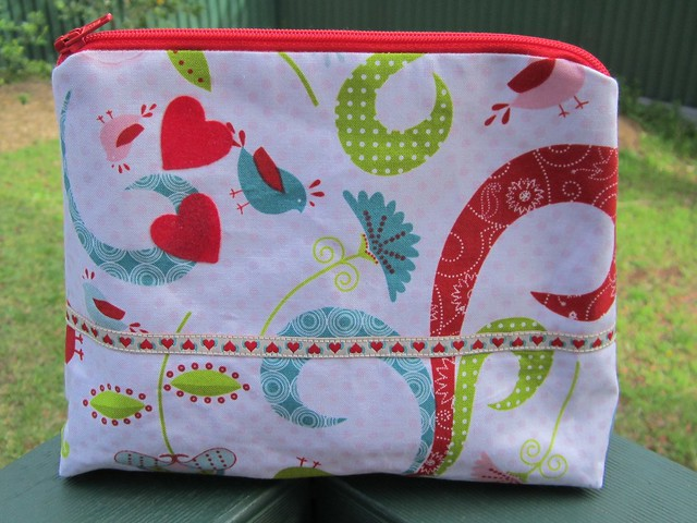 make up bag - birds hearts