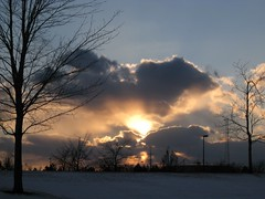 Sunset 2 (Leya :P) Tags: blue winter sky sun white snow cold tree yellow skyline clouds betterthangood