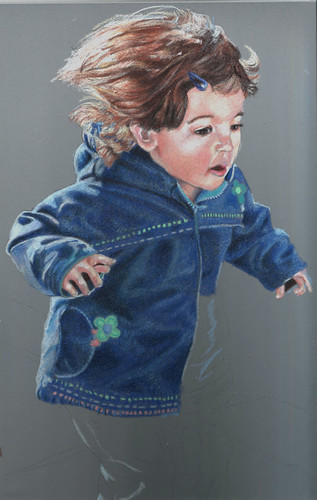 In progress scan of colored pencil drawing entitled Jump!