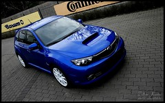 STi 08 with Speedline wheel (Zek.) Tags: road new blue light color contrast work dark lens prime exterior close angle rally wide glossy subaru mirrored driver gloss kit 2008 brand range impreza wrx sti shite spanking whell 08 tonal speedline foglight canoneos400d digitalrebelxti 1855mmf3556ii
