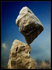 rock balancing impossibly on another