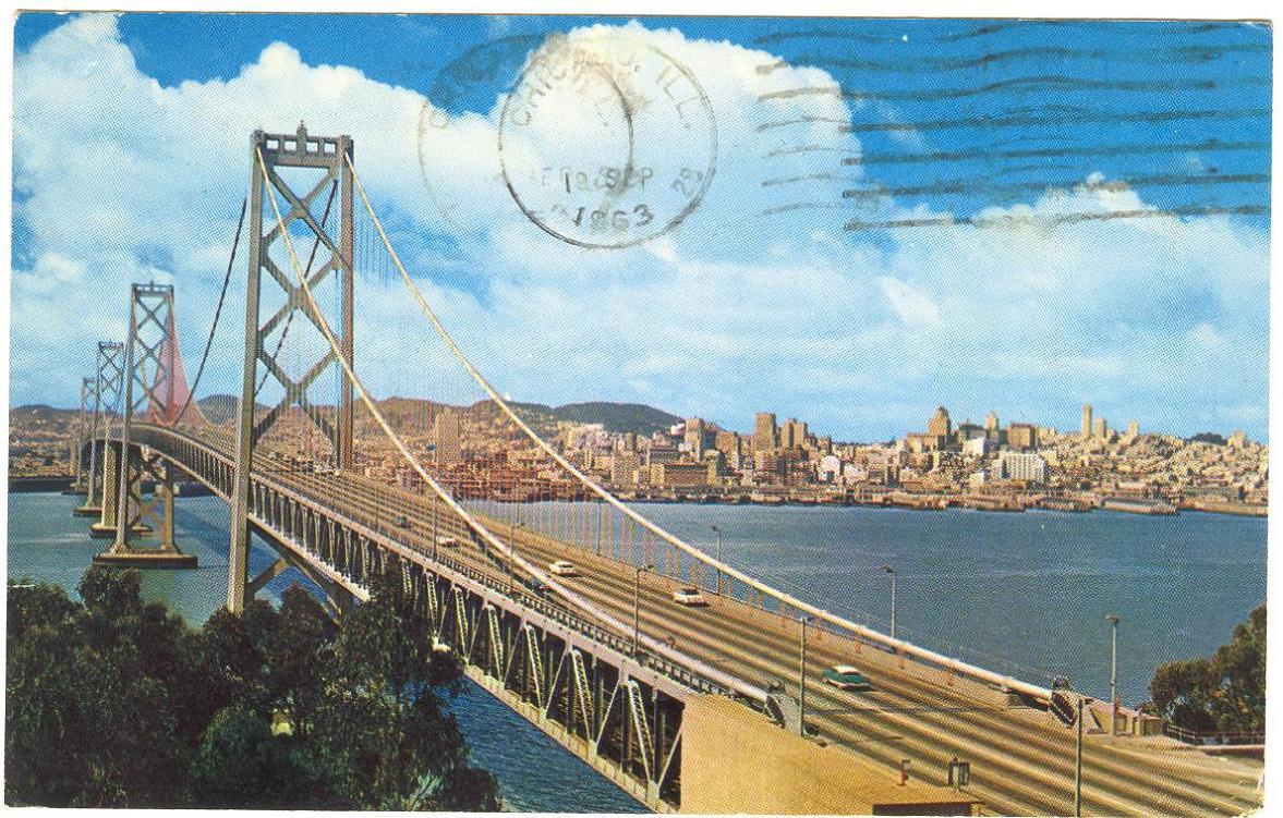 San Francisco-Oakland Bay Bridge (postcard) circa 1963