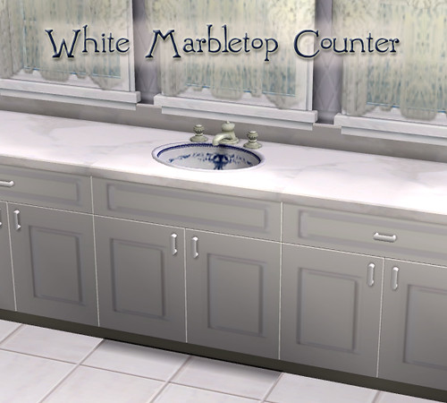 White Marbletop Counter for The Sims 2