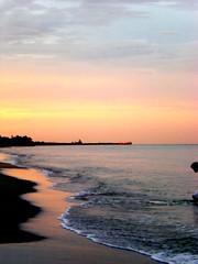gorgeous (FelonyMelanie) Tags: ocean pink sunset beach water pier sand pretty waves florida 2008 hammockbeach felonymelanie melaniebertelson