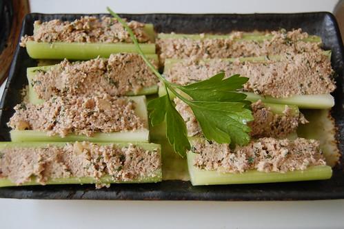 walnut paté on celery sticks