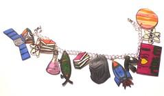 Krisamels bracelet (arieltelsa) Tags: fish nerd shop shopping book geek space text probe darwin kitsch jewelry charm science pi math bracelet planet rocket etsy beaker atom geekery shrinkdink