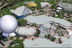 Epcot on Google Earth with 3D Buildings on.