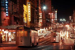 Brisbane Four Motor Trams 495 and 512 in Queen Street at Edward Street, Brisbane, Queensland, Australia - Night Time. (express000) Tags: australia brisbane nighttime queensland trams queenstreet brisbanecitycouncil brisbanetrams fourmotortram queenstreetbrisbanequeensland queenstreetbrisbane