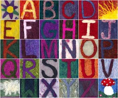 Mosaic of Needlefelted Alphabet ATCs and ACEOs - Tactile Art and Learning for Children