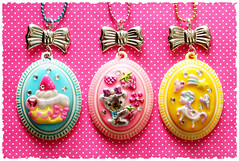 ~Sweet Kawaii Cameos~ (stOOpidgErL) Tags: bear pink blue horse cute castle yellow sparkles diy necklace strawberry pretty handmade craft jewelry plastic cupcake kawaii resin rhinestone pendant stoopidgerl