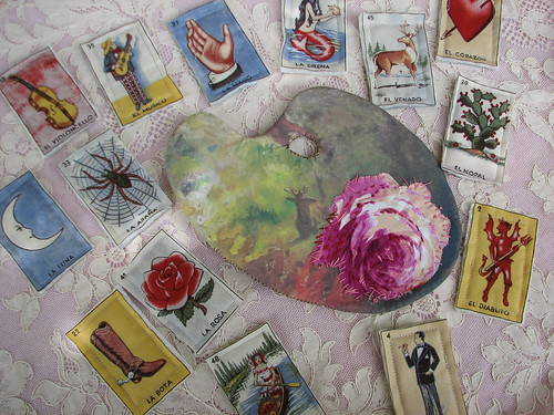 her palette and Loteria cards