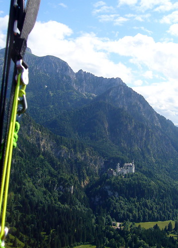 Neuschwanstein Castle while paragliding