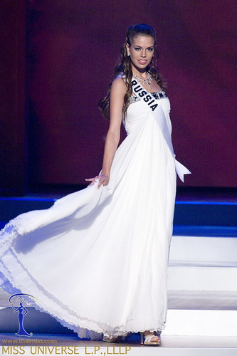 Vera Krasova, Miss Russia 2008, competes in a gown of her choice ...
