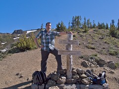 Brian at the sign-post of Marmot Pass, elev. 6000 Photo
