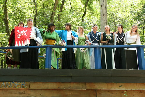 The wedding party on a pirate ship.