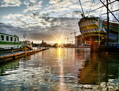 Pirateship Sunset (Marco.nl) Tags: sunset reflection water amsterdam dock best hdr bestofthebest pirateship nemomuseum photomatrix 5xp impressedbeauty infinestyle