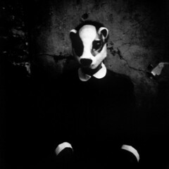 Je est un autre - Arthur Rimbaud (nhungsta) Tags: blackandwhite selfportrait vintage mask surreal pinhole papernegative badger portfolio lensless afterthought nhungsta biscuitcam hourofthesoul  lamainrouge darkromantic woodlandtales
