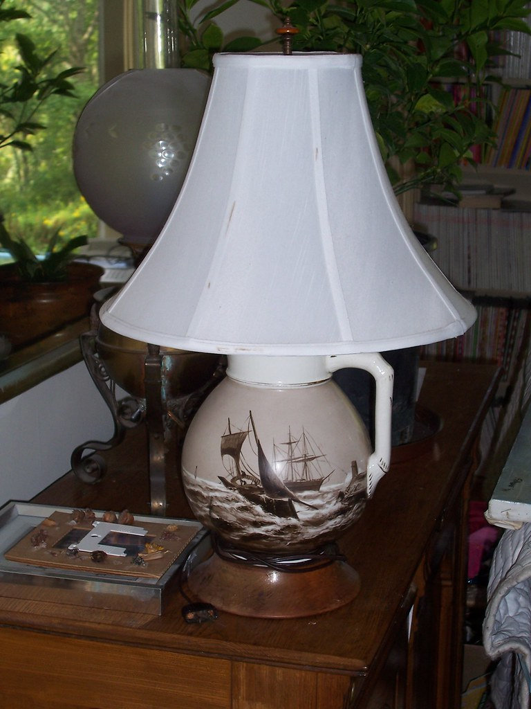 Hand painted nautical pitcher lamp $95