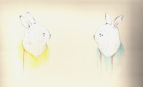 Two Looking Rabbits
