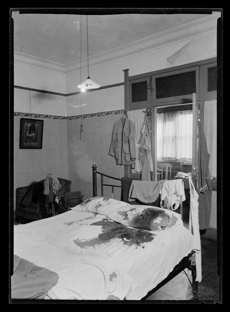 Bedroom murder crime scene, details unknown, c1940s