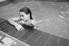 (_emily_c_) Tags: light summer blackandwhite bw water pool girl swim reflections friend noir neighbor blanc torrey