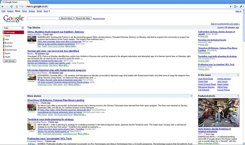 Google News India new layout top