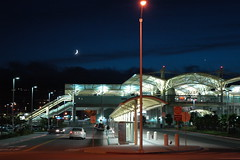 The Romance of Power, Millbrae Station, Bay Area Rapid Transit (BART), under a crescent moon, California, USA