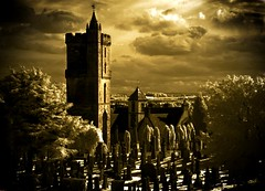 Stirling, Scotland (infrared). (coulombic) Tags: travel castle church graveyard contrast photoshop canon gold scotland scary stirling tan eerie infrared 5d canon5d canoneos highlight falsecolor canon1635mmf28l stirlingscotland canoneos5d gabefarnsworth maxmaxcom canoninfrared coulombic ldpllc