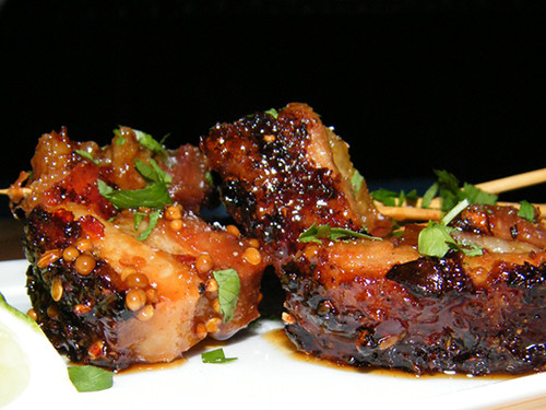 Pork Belly Skewers at Laurel Tavern my MyLastBite.com
