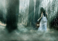 The Mysterious Mist (Nika Fadul) Tags: road woman white mist girl lights dress estrada miranda floresta nvoa pinheiros lampio uberlndia mnicafadul nikafadul
