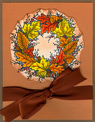 Fall Wreath (prospurring (Anne)) Tags: autumn red orange brown black fall leaves yellow cards leaf ranger handmade psx wreath round stamping ribbon markers acorns crayola burntorange greetingcards teadye washablemarkers distressinks dyeinks fallwreath archivalink texturedcardstock waterproofinks stampinginks stampinks k3096