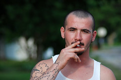 cousin zach (super.heavy) Tags: tattoo cigarette piercing smoking wifebeater