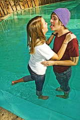 Chris and Heather. (JessicaHume.) Tags: chris 2 6 3 guy boyfriend water fountain girl tongue 1 kiss girlfriend couple downtown texas fort 5 heather 4 7 8 9 relationship watergardens dating worth