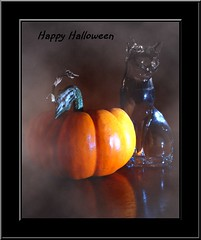 Happy Halloween (Theresa*) Tags: orange halloween fog cat pumpkin halloweenworldwide