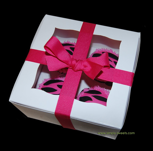 Boxed pink and black zebra cupcakes