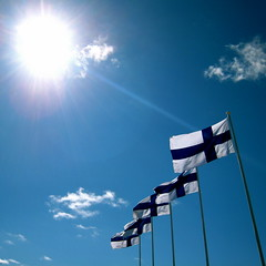 Happy Birthday Finland! (mikkohei) Tags: blue summer sky suomi finland day flag flags independence independenceday kes itsenisyyspiv