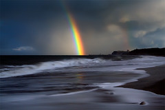 Always Chasing Something (jasontheaker) Tags: ocean winter sunset storm beach rain rainbow wave vision whitby swell peripheral sandsend landscapephotography northsea jasontheaker northyorkshire