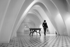 Casa Batll ((Erik)) Tags: barcelona deleteme5 light deleteme8 people urban bw woman white house black deleteme