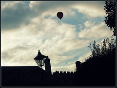 Floating in twilight (blind_donkey) Tags: uk light england sky clouds twilight oxford traveling hotairballon