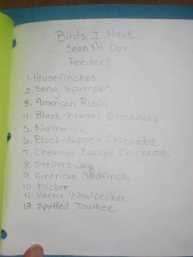Bryant's Bird Feeder List