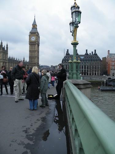 bagpiper on Westminster Bridge