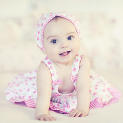 Her little smile... (Shana Rae {Florabella Collection}) Tags: pink light portrait baby floral girl dress sweet daughter naturallight honey sasha lili florabella nikond700 shanarae