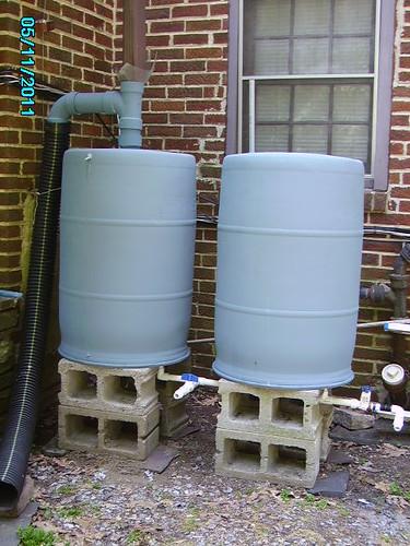 Rain Barrel With Overflow - My Drill Pump Will Pump The Water Up Ten Feet To My Garden.