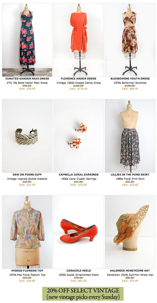 Adorevintage.com Vintage Clothing Sale Weekly Anthology - 20% OFF Select Vintage Clothing and Accessories